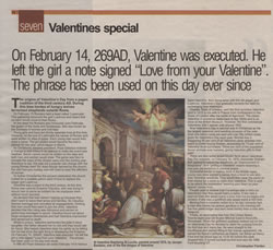Christopher Fielden Newspaper Article - Valentines - Bristol Evening Post - February 14th 2004