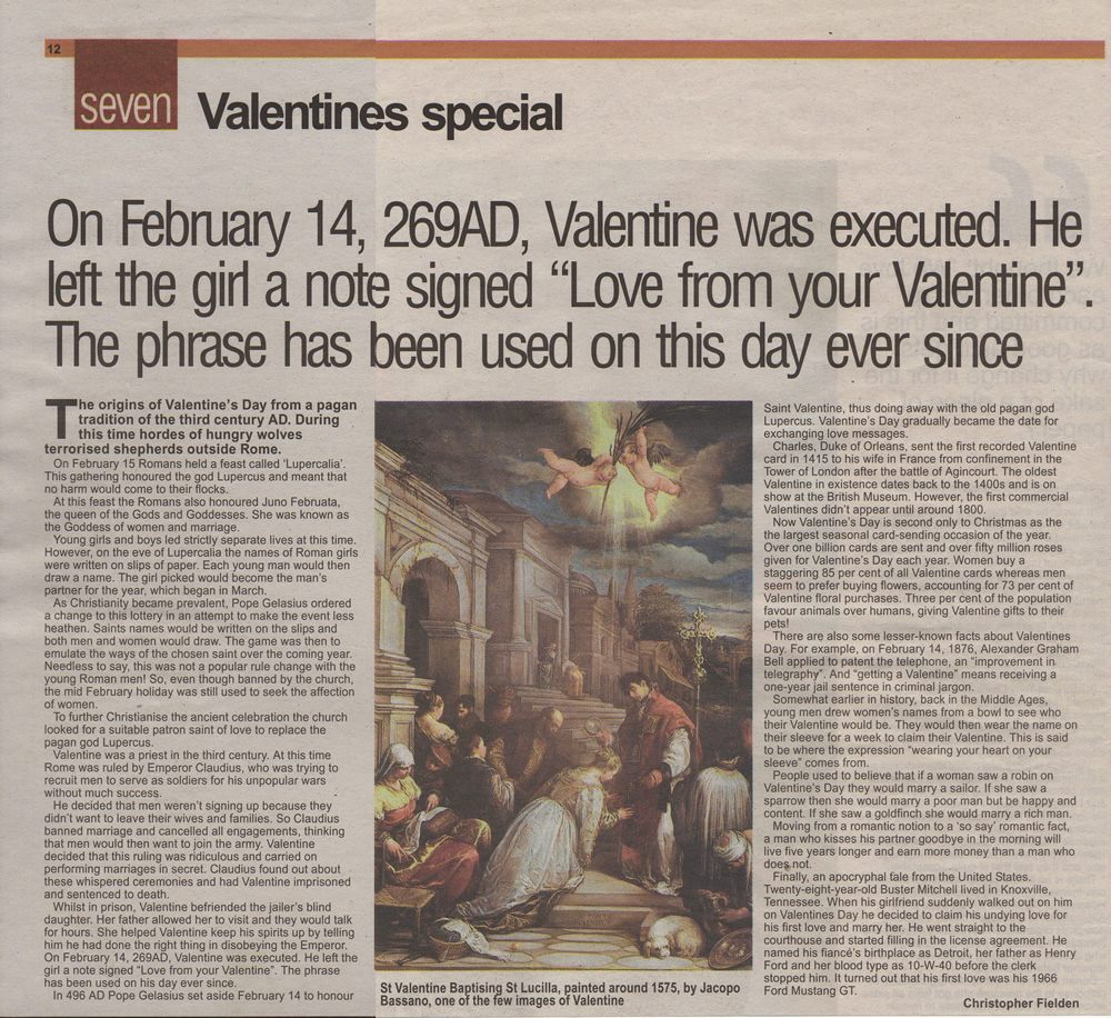 christopher fielden newspaper article valentines bristol evening post february 14th 2004
