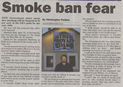 Christopher Fielden Newspaper Article - Smoking Ban - Mercury December 9th 2004
