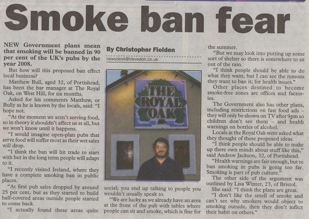 christopher fielden newspaper article smoking ban mercury december 9th 2004