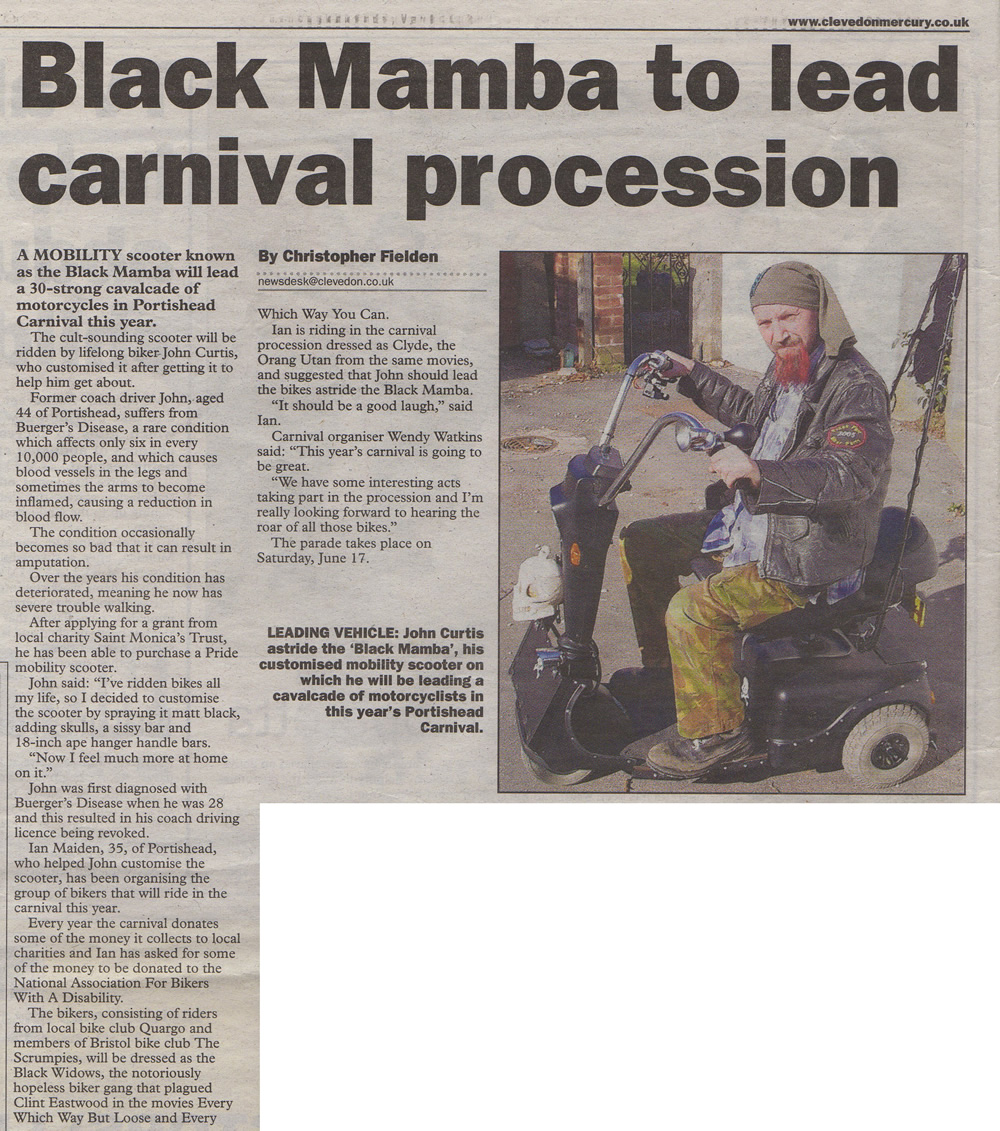 chris fielden portishead carnival newspaper article mercury march 30th 2006