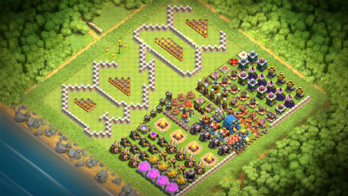 AC/DC Clash of Clans base with level 11 and 12 walls