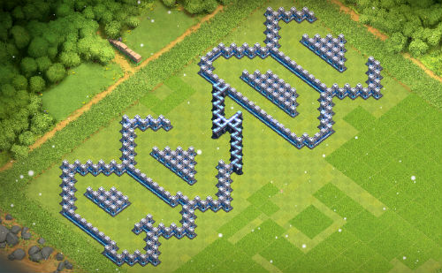 ACDC Clash of Clans base with level 13 and 14 walls