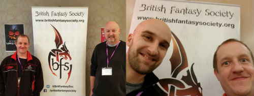 Chris Fielden, Allen Ashley and Dave Langdale at the British Fantasy Society Convention in Glasgow 2019