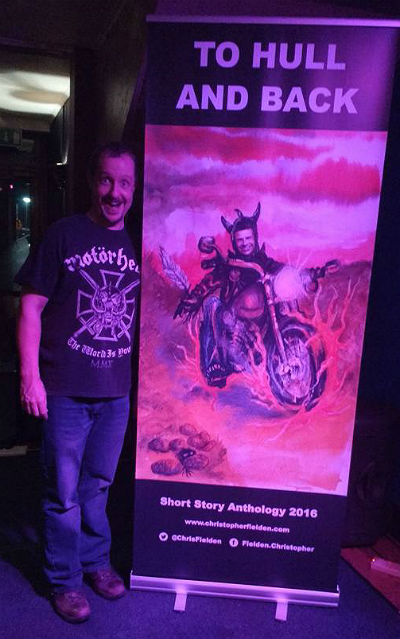 Chris Fielden with To Hull & Back book cover banner