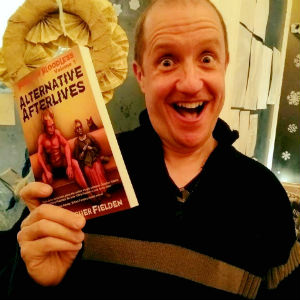 Chris Fielden with his book Alternative Afterlives