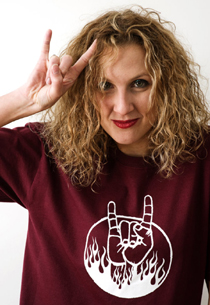 Heavy Metal Hand Sign T-Shirt red, maroon