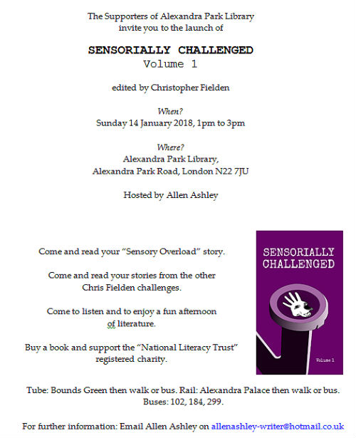 Sensorially Challenged Book Launch Poster