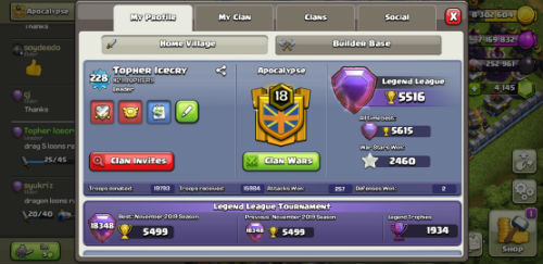 Topher Icecry Clash of Clans player profile