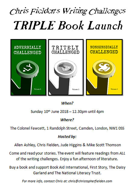 Writing Challenge Triple Book Launch Poster