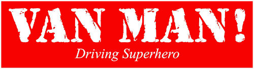 Van Man Driving Superhero Logo